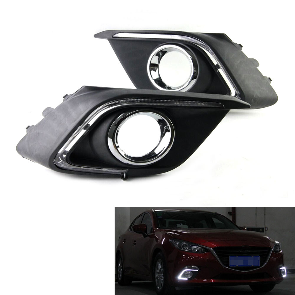 2x Auto Car Styling Daytime Running Head Light DRL White LED Driving Fog Lamp Fit For 2014 Mazda 3 AXELA Exterior Accessories 1pair led car daytime running light daylight drl fog driving lamp 12v blue white waterproof car styling car accessories