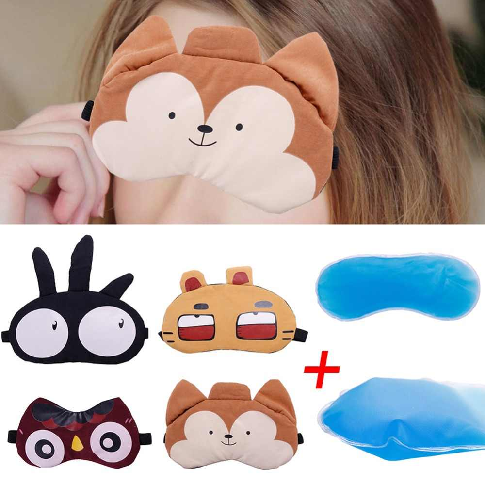 1PCS Cute Eyeshade Cold Cooling Gel Ice Eye Care Mask Padded Shade Cover Stress Relaxing Relief Sleeping Blindfold #280021