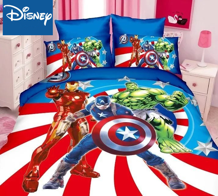 Disney Marvel Bedding Set For Children Bed Decor Twin Size Duvet Covers Single Flat Sheet 2-4pcs Home Textile Cartoon Promotion