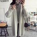 Las mujeres Chaqueta de Punto 2017 Otoño Nueva Moda de Punto Sólido Rebecas Largas de Alta Calidad Tire Femme Sweter Mujer SZQ145