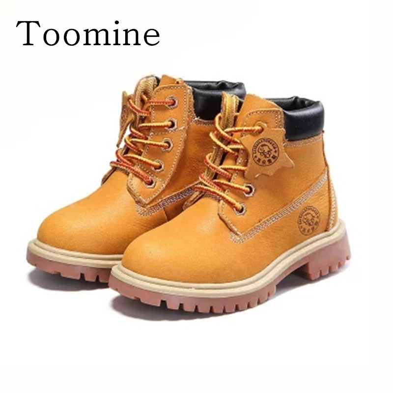 Kids Girls Boots 2017 High-Grade Children Shoes Genuine Leather Baby Boys Boots Martin Waterproof Breathable Lace-Up Ankle Shoes
