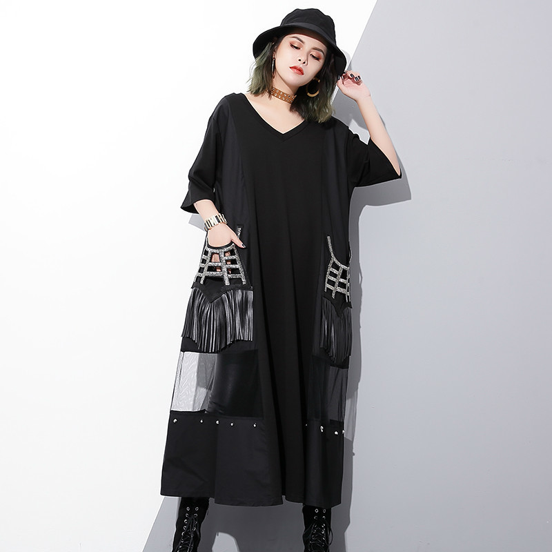 [Aiweier] New Womens Shirts Dresses V-neck Solid Black Tassels Mesh Pocket Half Sleeve Spliced Loose Dress For Woman Clothes