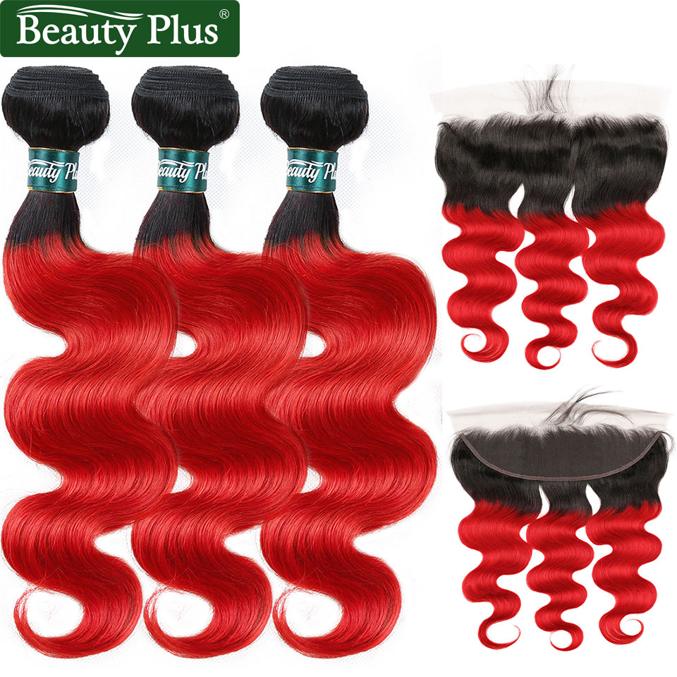 Red Peruvian Hair Bundles With Closure 13x4 Beauty Plus Human Hair Dark Roots Black Red Nonremy Body Wave 3 Bundles With Frontal