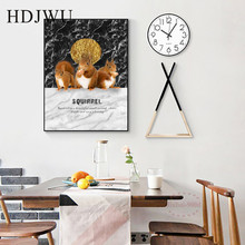 Home Wall Painting Nordic Canvas Pictures Animal Squirrel Design Printing Posters for Living Room Hotel Decor DJ230