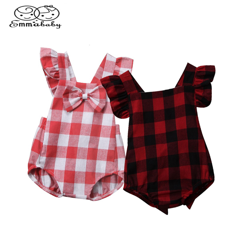 Emmababy Summer Newborn Infant Baby Girl Sleeveless Plaid Bodysuit Jumpsuit Playsuit Kids Cotton Clothes Outfit 0-18M