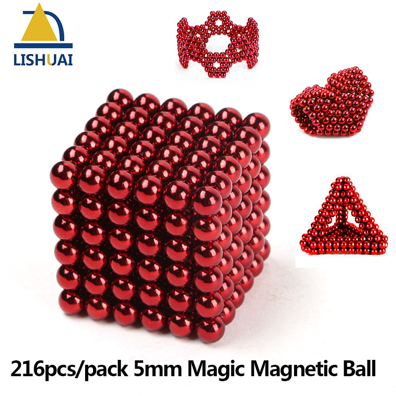 216pcs/pack 5mm Magic Magnetic Ball/ Strong NdFeB DIY Buck Balls/ Neo Cubes Puzzle Magnets Red Color