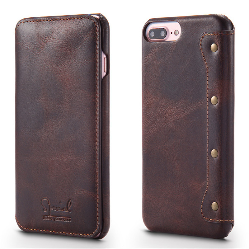 Luxury Flip Phone Wallet for Apple <font><b>iPhone</b></font> 6 Case Top Quality Cowhide Leather for <font><b>iPhone</b></font> 7 Case 7 Plus Back Cover for <font><b>iPhone</b></font> 6s