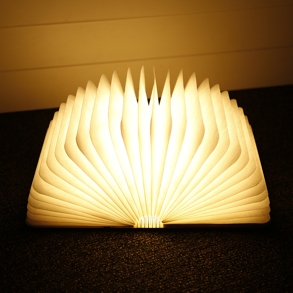 LightMe USB Rechargeable LED Foldable Wooden Book Shape Desk Lamp Night Light For Home Decor Warm White Light Drop Shipping yingtouman led night light folding book light usb port rechargeable paper cover home table desk ceiling decor lamp