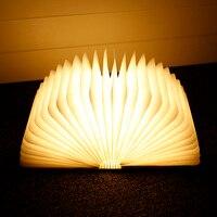 LightMe USB Rechargeable LED Foldable Wooden Book Shape Desk Lamp Night Light For Home Decor Warm