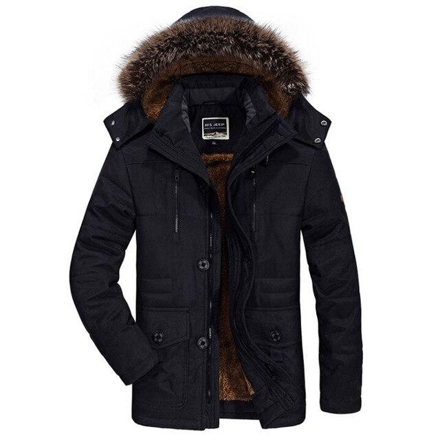 59ebad3588d0 Мужские зимние куртки с меховым воротником, толстая бархатная теплая парка, мужские  куртки и пальто