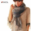 Vancol 2016 Winter Autumn Long Shawls Poncho Thickening Scarves Large Checkered Tassel Warm Cotton Scarf  Women Plaid Pashmina