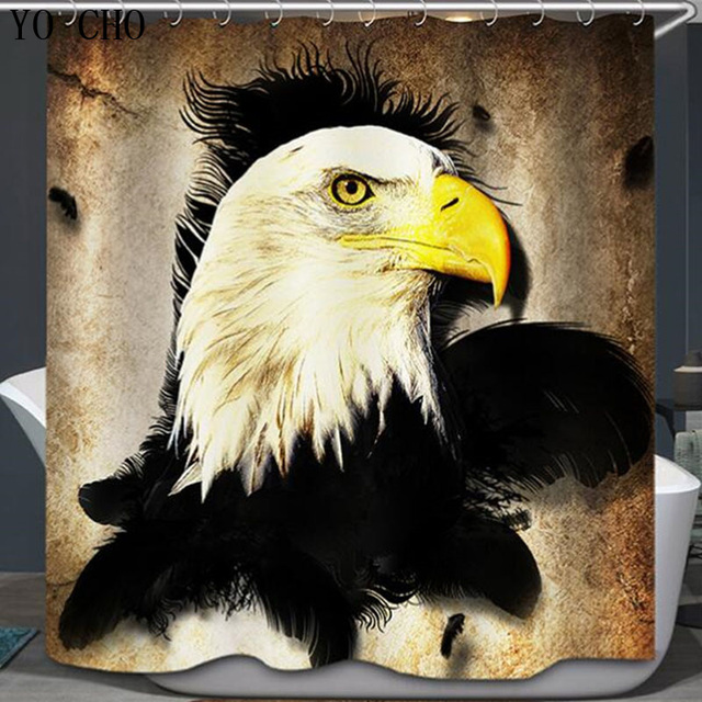 New 3d Shower Curtain Multi Size Polyester Waterproof Peacock Bath Eagle Curtains For Room With 12 Hooks