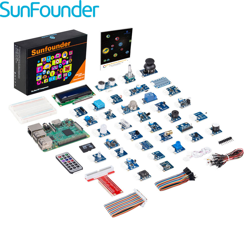 SunFounder 37 in 1 Modules Sensor Stater Kit for Raspberry Pi RPi 3, 2 Model B and 1 B+Included Raspberry Pi 3 Board 3 in 1 rev 3 0 512m arm raspberry pi project board model b and 2 heatsink and 1 acrylic case