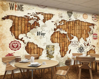 beibehang wallpaper for walls 3 d World map red wine oak stopper wine restaurant bar back wall fashion personality wallpaper