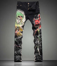 Мода VNovelty Красочные Череп Печати Мужчин Джинсы Мода Узкие Брюки