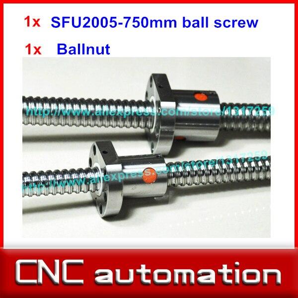Zero Backlash Ball screws rail 2005 L 750mm 1pcs SFU2005 single ballnut end machining is optional