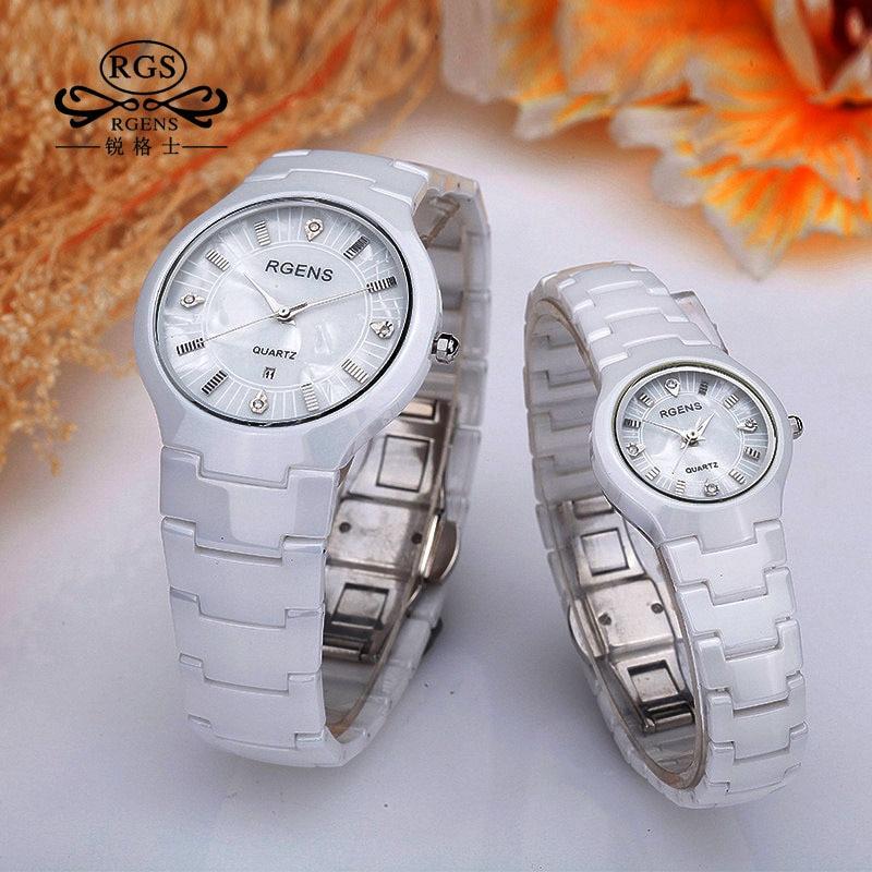 Business Mens Womens Ceramics Watch Fashion White Black Female Male Couple Watches Quartz Casual Waterproof Luxury Diamond 5503