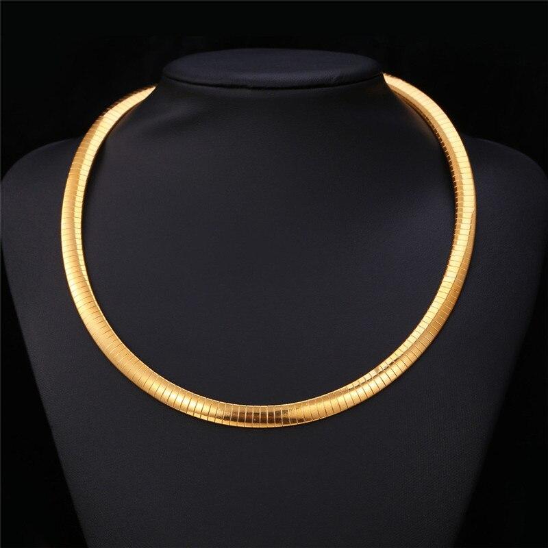 78bc6b76330d Kpop Femmes Serpent Choker Collier Hommes Chaîne Plat serpent Bijoux Or  Couleur 316L En Acier Inoxydable New Trendy Mode N212