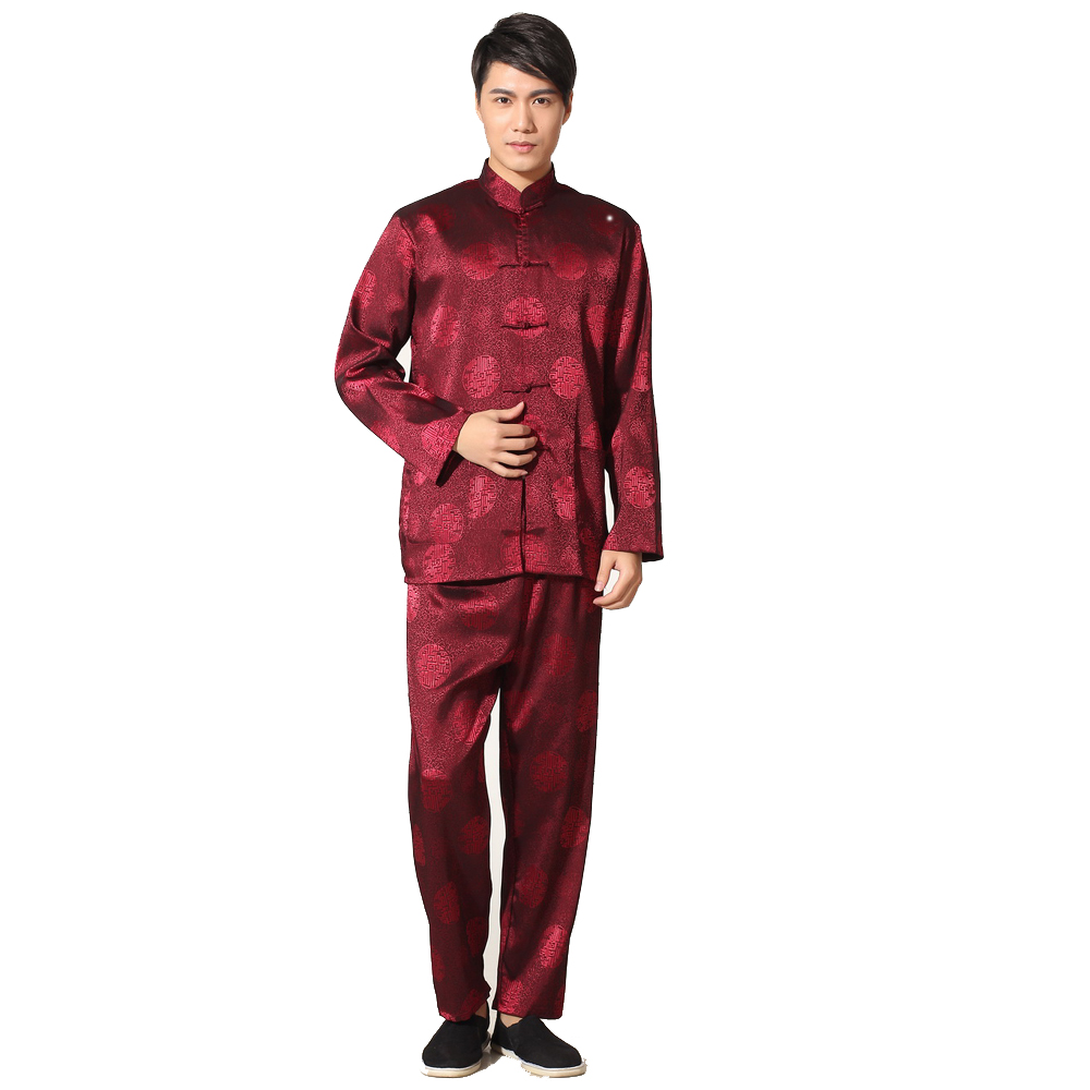 High Quality Chinese Men's Kung Fu Suit Satin Tai Chi Wu Shu Sets Vintage Dragon Wu Shu Clothing S M L XL XXL XXXL MS007