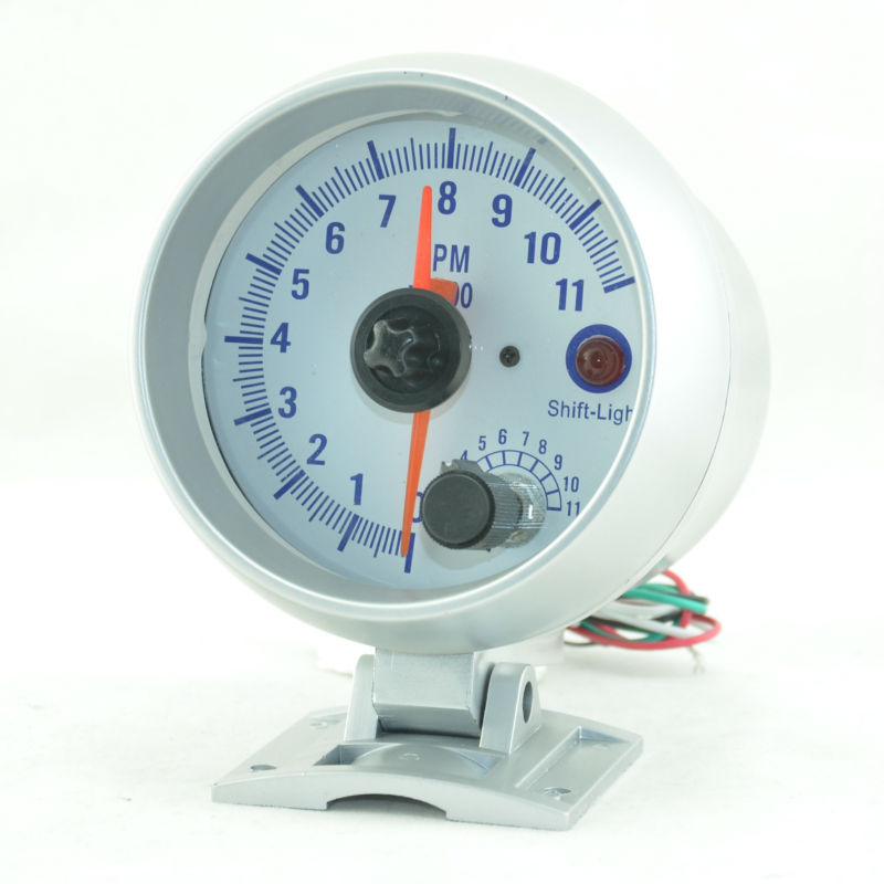 3.75 inches silver shell white backlight car tachometer double pointer 0-11000RPM Auto gauge Free shipping