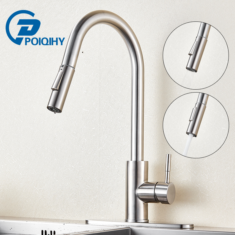 POIQIHY Stainless Steel Sensitive Touch Control Faucet Mixer Pull Out Sense  Kitchen Faucet Touch Sense Kitchen ...