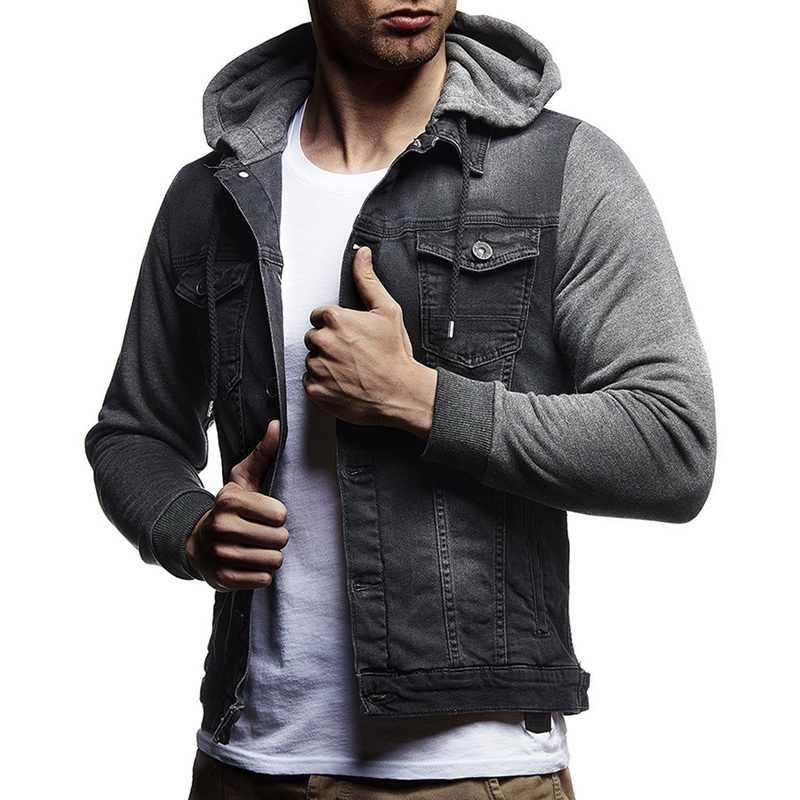 027e975323c00 Модная Джинсовая куртка мужская Осенняя ветровка с капюшоном тонкие пальто  Мужская повседневная Уличная ковбойская джинсовая куртка