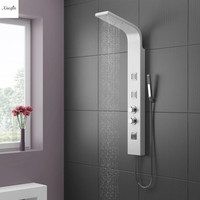 Stainless Steel Tower Thermostatic Rain Waterfall Shower Panel Shower Column Massage System Multifunction Outlet Water Faucet