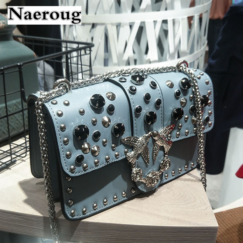 2018 Women Shoulder Messenger Bag Flap New Design Swallow Pattern Retro Single Chain Shoulder Crossbody Rivets Handbag Louis Bag 4 pcs replacement spare parts rubber gear blender juicer parts 3 plastic gear base 1blade gears parts for magic bullet 250w page 4 page 2 page 2