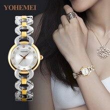 YOHEMEI Simples Damas Pequeño Dial Redondo de Oro Rosa Esqueleto Pulsera Para Mujer Relojes Top Brand Reloj de Cuarzo Ocasional Waches Mujeres