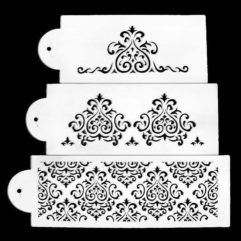 3PCS biskota tortë stencil furrë mjet mjet fondant myk kurorë mbretëreshë princeshë mbretëresha Bakeware Pjekje Fondant Cake Stencil Mould myk