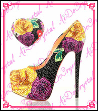 Aidocrysta Exquisite Italienische mode Plattform strass high heels sexy stöckelschuhe mit handtasche