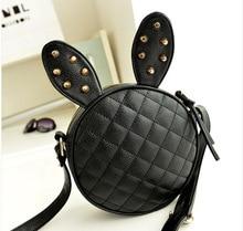 New Fashion Mini Mickey Ear Spiraea Lingge Women Handbag Leather Messenger Bag Circle Crossbody Bags Shoulder Bag Round Purses