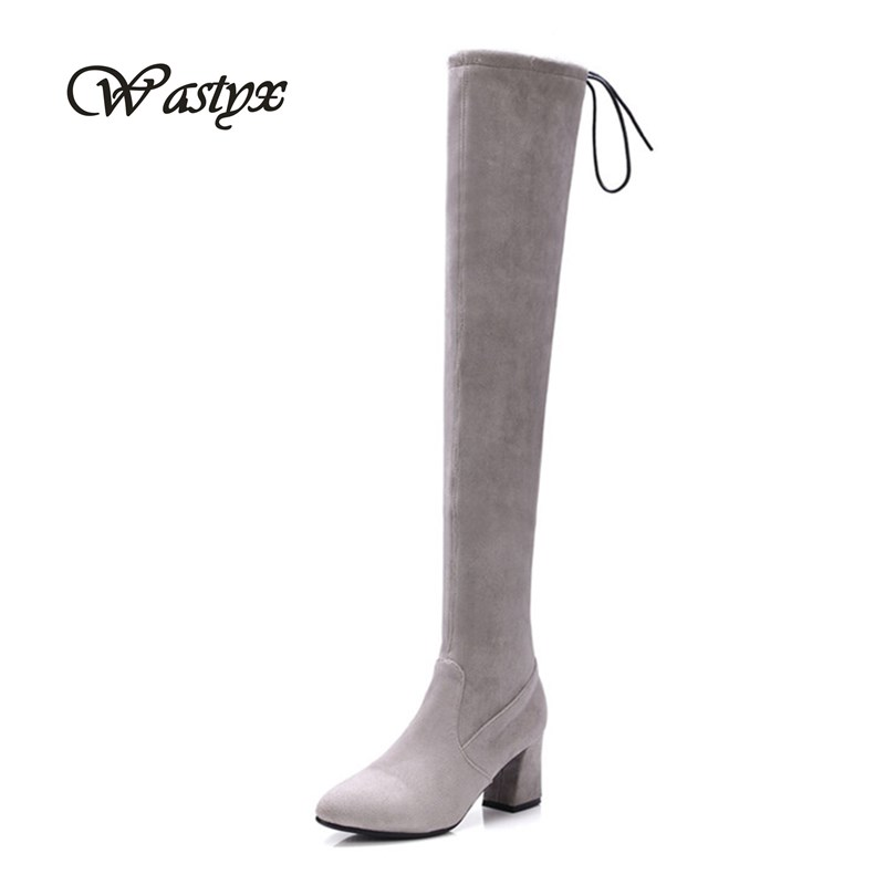 Wastyx new Slim Boots Sexy over the knee high women extreme high heels boots womens fashion winter thigh high boots shoes woman