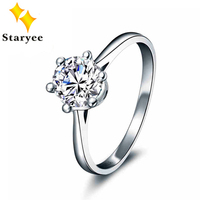 Certified 1 CT VVS H Round Cut Moissanite Wedding Rings 18K Pure White Gold Jewelry For