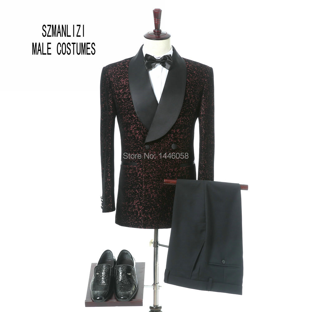 Latest Coat Pant Designs Classic Shawl Lapel Double Breasted Slim Fit Suit Burgundy Velvet Tuxedo Jacket Groom Wedding Suits