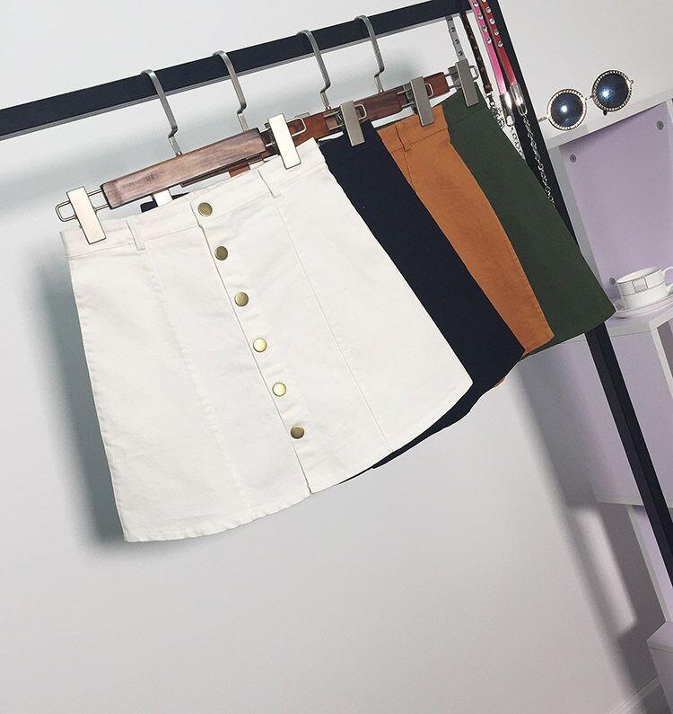 HTB1Ob36MpXXXXbMXFXXq6xXFXXXf - American Apparel button Denim Skirt JKP265