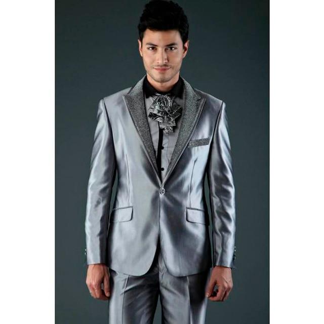 Unique Groom Suits Silver Gray Wedding Suit For Men Costume Homme ...