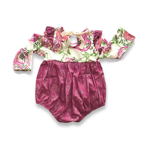 Cute Newborn Toddler Ruffle Winter Baby Girl Romper Jumpsuit Print Outfits Long Sleeve Baby Rompers