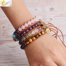 CSJA 7 Chakras Natural Stone Bracelet Leather Wrap Rope Women Hematite Bead Amethysts Pink Quartz Handmade Jewelry S409