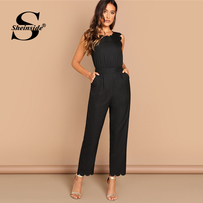 Sheinside Elegant Scallop Edge Solid Jumpsuit Summer Black Jumpsuits For Women 2019 Sleeveless Mid Waist Workwear Maxi Jumpsuit