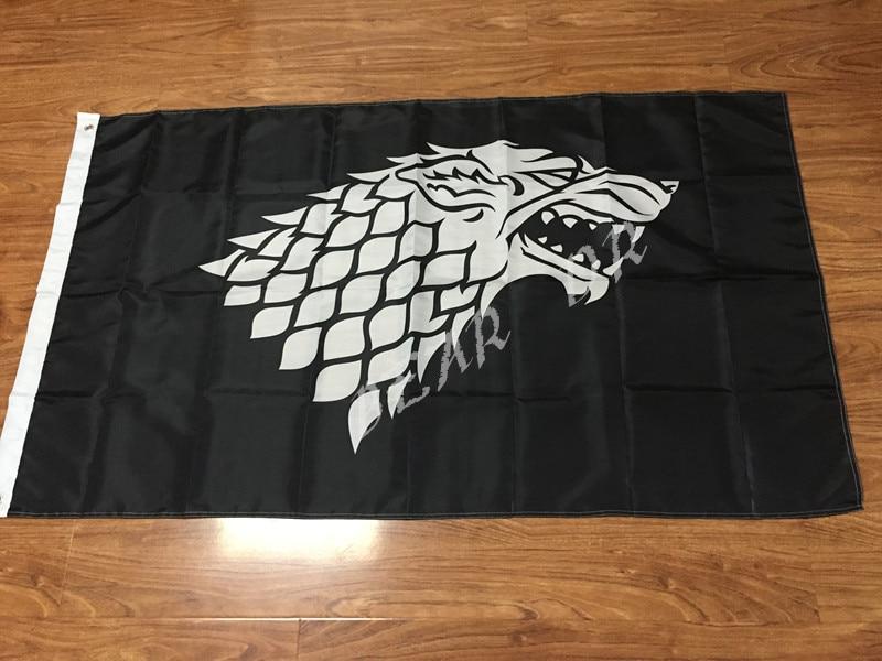 Játék a Thrones Stark Banner Flag 3 'x 5' 100D poliészter minőségű ingyenes szállítás