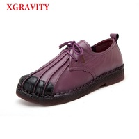 XGRAVITY 2018 Dropshipping Ladies Retro Hand Made Cow Genuine Leather Casual Woman Fashion Flat Shoes Ethnic