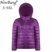 NewBang бренд плюс размеры 5XL 6XL для женщин пуховое пальто ультра легкий пуховик легкий портативный ветровка верхняя одежда, украшенная перьями