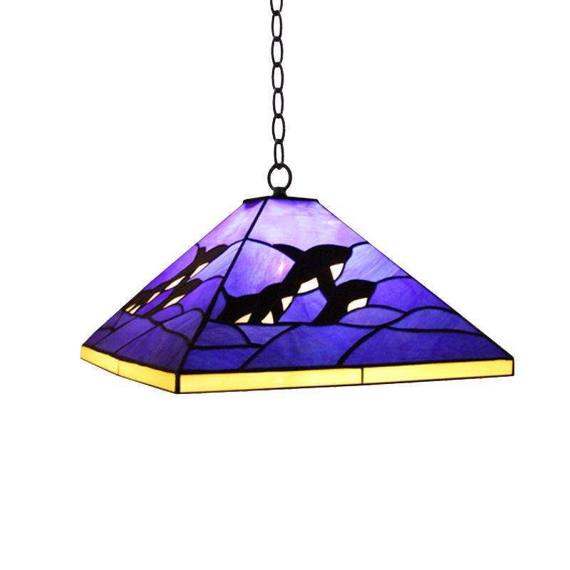 Blue Tiffany Dolphin Dining Room Pendant Lamp Mediterranean Bedroom Hanging Lamps Kid's Room Pendant Light a1 master bedroom living room lamp crystal pendant lights dining room lamp european style dual use fashion pendant lamps