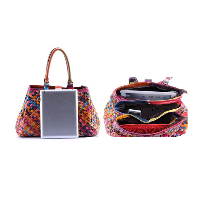 2017 New Fashion Multicolour Genuine Leather Bags Weave Handbags Women's Shoulder Bag Messenger Bag colorful handbag female
