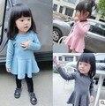 heat! 2015 newborn baby girls dress solid color dress baby princess dress flouncing long-sleeved dress cute free shipping 0-2