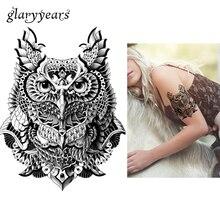 1 Sheet Waterproof Body Art Tattoo Sticker KM-041 Cartoon Owl Pattern Decal Design Temporary Tattoo Cool Women Men Body Art