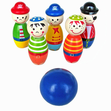 6 pcs set Wooden cute Cartoon Children bowling toy plastic mini ball sports and leisure traditional