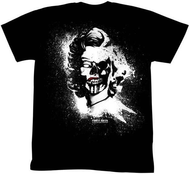 4d811fa0 Marilyn Monroe 1950'S Beauty Model Icon Skull Face Drawing Adult T Shirt