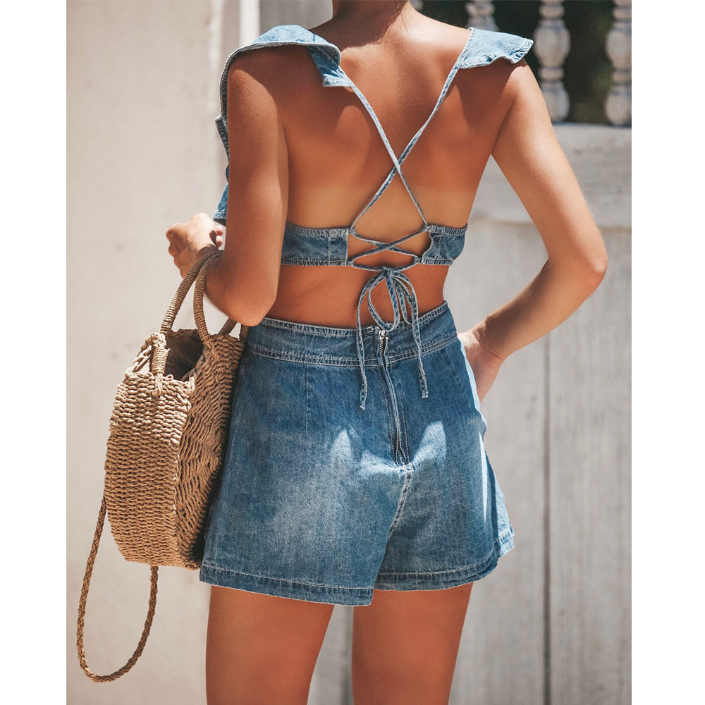 Summer new hot fashion high waist loose denim jumpsuit hollow personality sexy strap casual jumpsuit ruffled female slim jeans